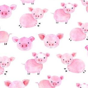 Watercolor Pink Pig Farm Piggies