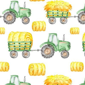Watercolor Green Tractor Hay Bales Farm -  Medium
