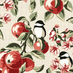 Chickadees & Apples - Ivory - Jumbo