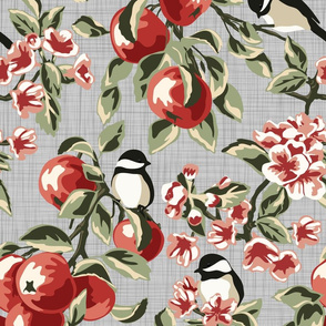 Chickadees & Apples - Gray - Large