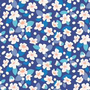 Spring Floral Pear blossom navy blue XL by Pippa Shaw