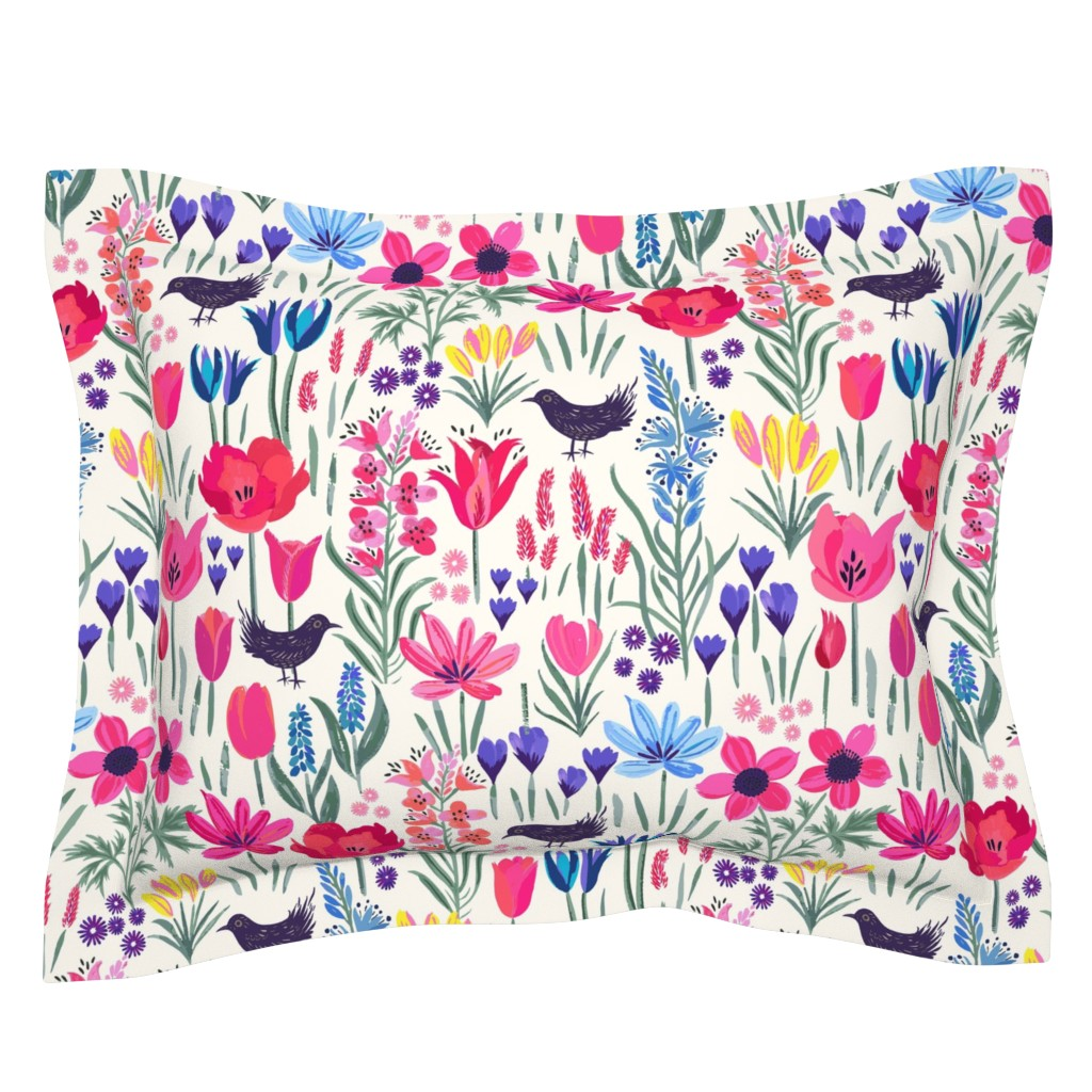 Sebright Pillow Sham featuring Spring Cottage Garden by jill_o_connor