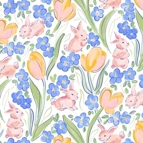 Spring bunnies and tulips
