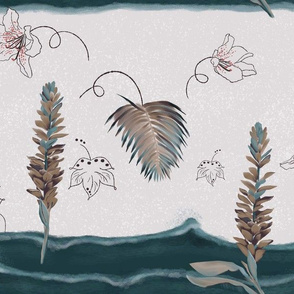 Beautiful plants, leaves and ocean waves