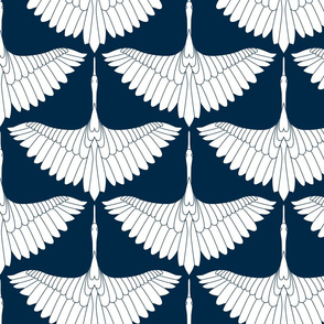 Swan Song // White on Navy