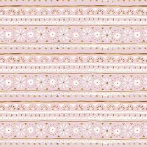 mod boho folk floral stripe - pink