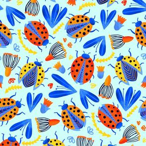Ladybird Botanical - Aqua (Large Version)