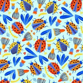 Ladybird Botanical - Aqua (Small Version)