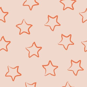 SMALL neutral sketchy stars - orange on nude