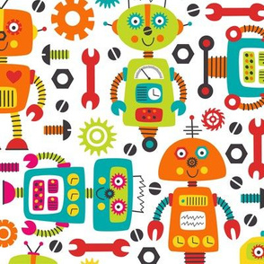 Medium - Cute Robots And Tools On White Background
