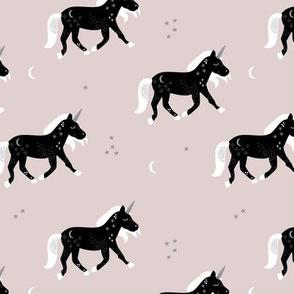 Little Sparkle Unicorn magic stars and moon universe horse design neutral black beige sand