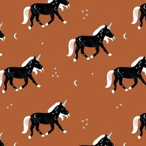 Little Sparkle Unicorn magic stars and moon universe horse design black russet neutral brown rust copper