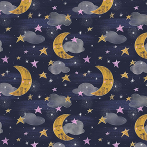 Dreaming Crescent Moons // celestial moon pink yellow stars folk flowers clouds fabric pattern