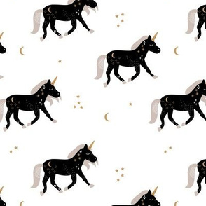 Little Sparkle Unicorn magic stars and moon universe horse design black and white neutral