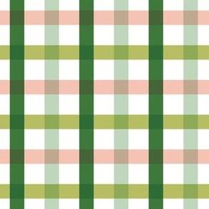 """6"""" Green and Peach Plaid"""