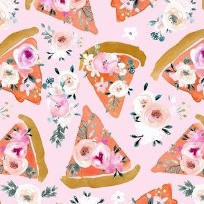 floral pizza on pink