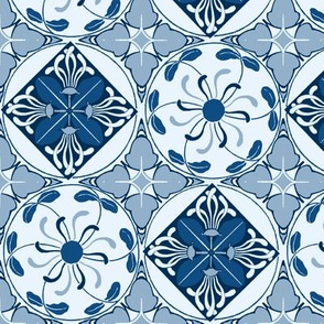 art nouveau wallflower checker - classic blue