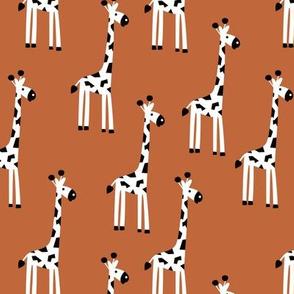 Adorable baby giraffe safari animals for kids winter rust copper neutral