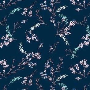 Cherry Blossom - Navy Blue Pink
