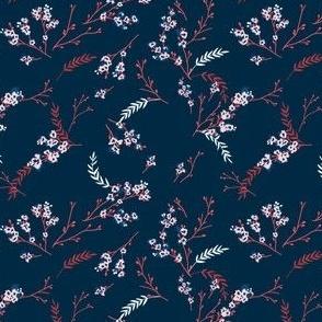 Cherry Blossom - Navy Blue