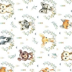 Woodland Animals – Baby Nursery Fabric- style A, SMALLER scale, ROTATED