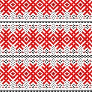 Unity - Force Protection Abundance - Ethno Ukrainian Traditional Pattern - Slavic Ornament - Middle Scale Red Black