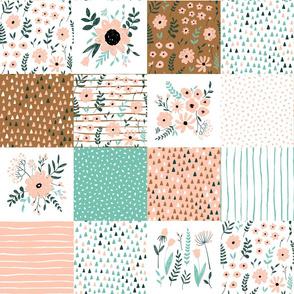 botanical print - medium scale spring floral wholecloth quilt