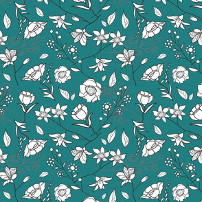 Mimi's Spring Meadow - White on Teal Green