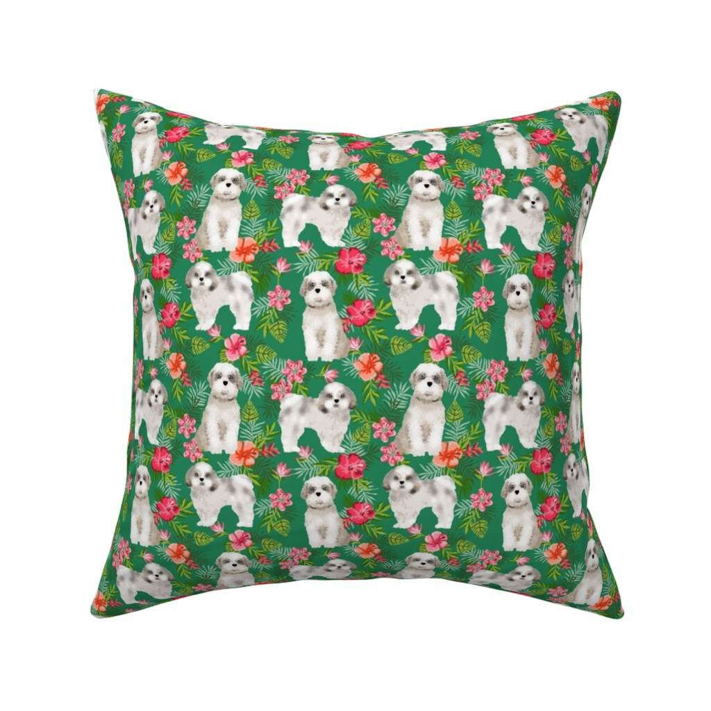 Catalan Throw Pillow featuring shih tsu hawaiian fabric - dog hawaiian fabric, hawaiian shirt fabric, dog fabric - green by petfriendly