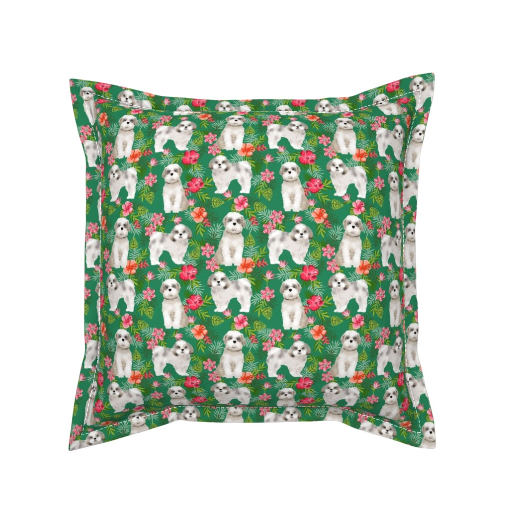 Serama Throw Pillow featuring shih tsu hawaiian fabric - dog hawaiian fabric, hawaiian shirt fabric, dog fabric - green by petfriendly