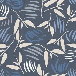 Twisting Leaves in dark blue and beige
