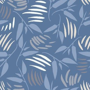 Twisting Leaves in mid blue