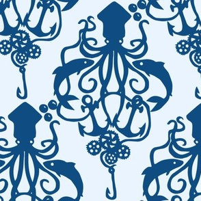 Squid Damask Classic Blue Light