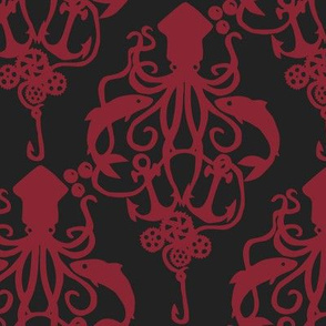 Squid Damask Ruby Dark