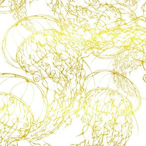 Inkblot Jellyfish Flock in Gold Foil (Largescale)