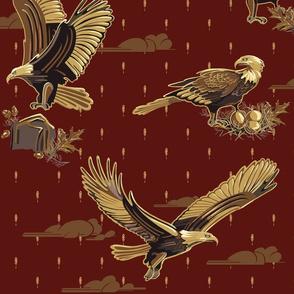 Eagle: Soaring Through Life | Deep Cranberry #440f0c