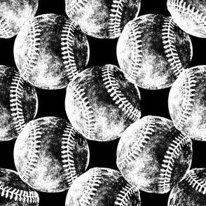 Vintage Baseballs B&W on Black