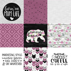 Momlife//Coffee//Merlot - Wholecloth Cheater Quilt
