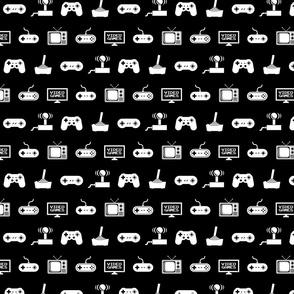Video Games Pattern on Black