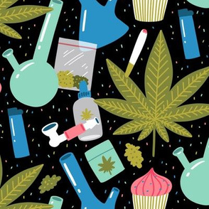 large scale / weed stuff and cupcakes on black background