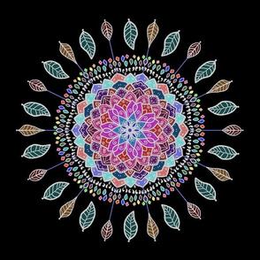 Pink Blue Spring Leaf Mandala