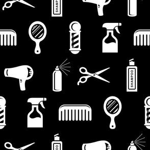 Salon & Barber Hairdresser Pattern on Black (Large Print Size)