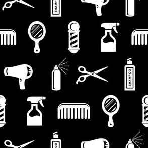 Salon & Barber Hairdresser Pattern on Black (Medium Print Size)