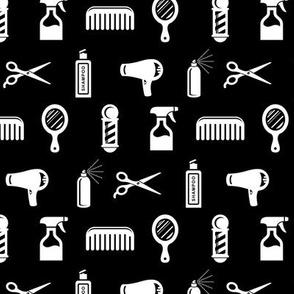 Salon & Barber Hairdresser Pattern on Black