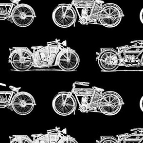 Antique Motorcycles on Black (Large Print Size)
