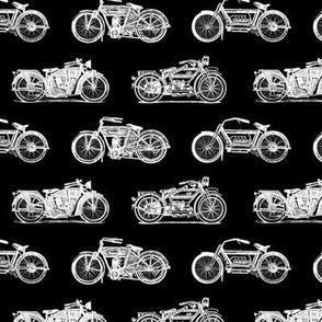 Antique Motorcycles on Black (Medium Print Size)