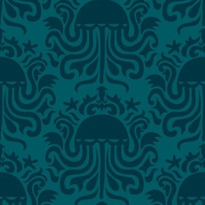 Jellyfish Ocean Animal Blue Two-tone Damask