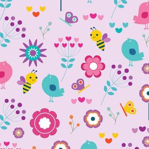 cheerful playful birds-bumblebees