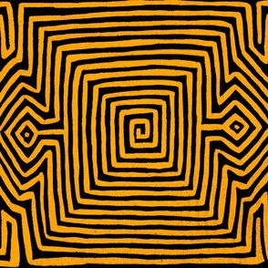Kuna Indian Tribal Turtle  - Orange Black