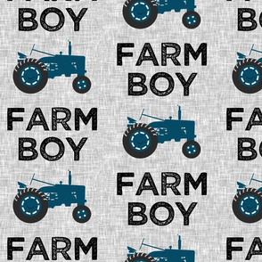 (large scale) Farm Boy - Tractor blue on grey - C20BS